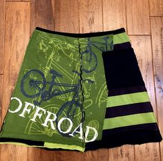 Upcycled tshirt skirt, bicycle, athletic, upcycled clothing, eco clothing, wearable art, altered wearable, recycled repurposed, Size Large by Theupcycledcloset on Etsy
