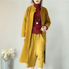 Woolen Literature Long Sleeves Autumn Winter Yellow Women Coat - Buykud