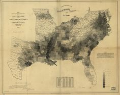 Map showing the Slave Population of Southern USA, 1861