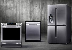 Besides its Food ShowCase Zipel refrigerator, Samsung Chef Collection of premium home appliances includes the refrigerator, the slide-in electric range cooker and the dishwasher. Stove Heater, Pellet Stove, Retro Appliances, Kitchen Appliances, Bosch Appliances, Electronic Appliances, Small Appliances, Samsung, New Kitchen