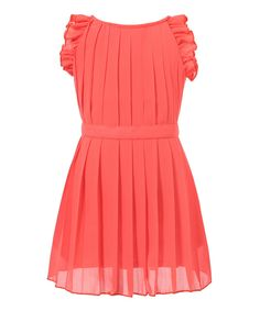 Look at this Red Pleated Angel-Sleeve Dress - Toddler