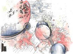 Abstract watercolor and gel pen mixed media painting by katrina ryan art - galactic space abstract