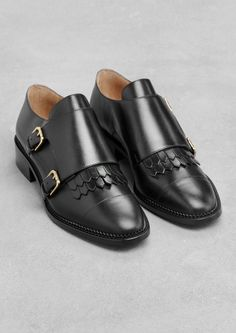 Black Leather Monk Strap Shoes with Covered Kilt, Mens Fall Winter Fashion. Sock Shoes, Shoe Boots, Flat Shoes, Double Monk Strap Shoes, Boots For Sale, Leather Flats, Black Leather, Leather Wedges, Shoe Collection