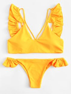 Set de bikini fruncido con diseño harness