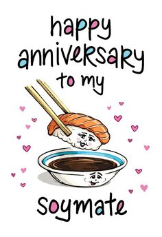 Anniversary Soy Mate - Happy Anniversary Card #greetingcards #printable #diy #Anniversary Happy Anniversary Cards, Love Illustration, Greeting Cards, Printable, Messages, Island, Templates, Words, Diy