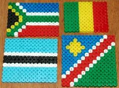 Flags of Mali, Botswana, South Africa and Namibia (fuse beads)