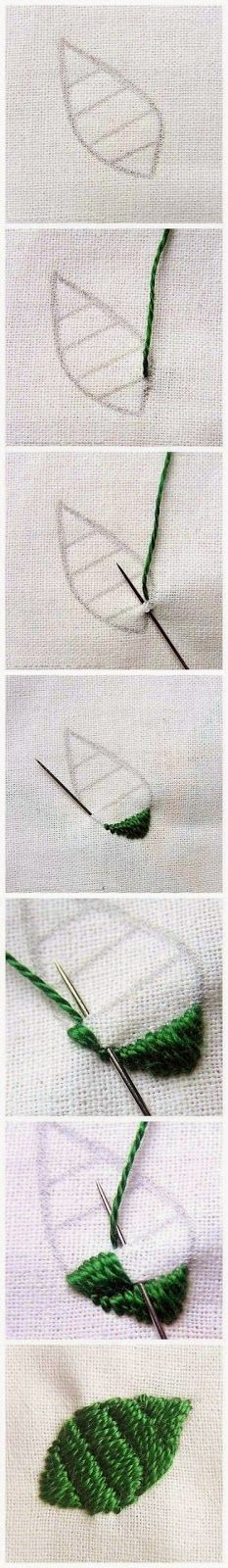 Embroidery Statin Stitch Leaf filled with rows of Satin Stitch - no name has been given for this stitch and I have not been able to find the original source. Do you know what it is called? Ribbon Embroidery, Beaded Embroidery, Cross Stitch Embroidery, Embroidery Patterns, Quilt Stitching, Cross Stitching, Fabric Crafts, Sewing Crafts, Diy Broderie