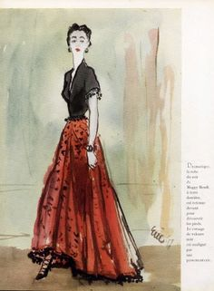 Maggy Rouff (1896 - 1971) French designer created refined evening gowns addressing the 30s vocabulary that appreciated drapes, tight waists and plunging backs. Along with Frederick Worth, she belongs to these traditional couture designers that made Paris the capital of fashion.