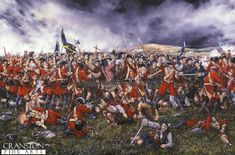 The Jacobite charge which broke through the ranks of Barrells regiment is counter charged by four British regiments including the 48th Legoniers regiment.