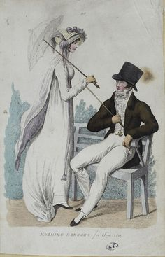 A white parasol. Regency Dress, Regency Era, 1800s Fashion, Vintage Fashion, 1800s Clothing, Empire Style, Costume, Fashion Plates, Jane Austen
