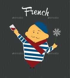 French man cartoon character, citizen of France in beret and sailor suit with glass of wine and a flower. vector illustration