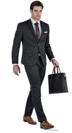 Traje Premium Gris Oscuro Con Raya Fina - Traje completo Trajes Negro Hombre e19cabdd056