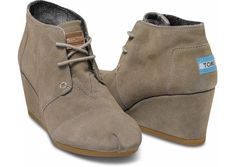 Taupe Suede Women's Desert Wedges - Toms. I have always admired the idea behind the Toms line, but hated their designs. BUT, WEDGE. SUEDE WEDGE. That is all.