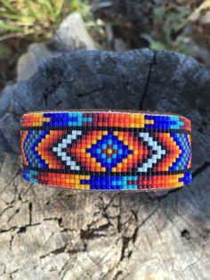 Beaded Geometric Design Cuff Bracelet in by PamBeadedAccessories