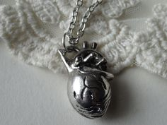 1 Silver Anatomic Heart Necklace 3D Heart by PeculiarCollective