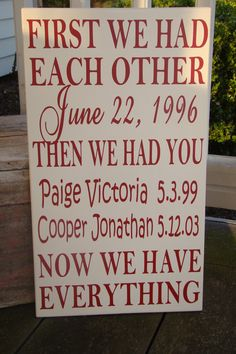 First we had each other then we had you-Personalized Family Wood Subway Art Sign Vinyl Lettering via Etsy