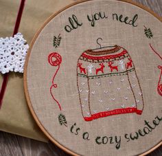 DIY, Hand embroidery patterns, Christmas diy, Christmas hoop art, christmas embroidery, Christmas sweater . by NaNeeHandEmbroidery on Etsy https://www.etsy.com/listing/254309292/diy-hand-embroidery-patterns-christmas