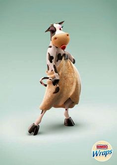 The Print Ad titled Bimbo Wraps: Cow was done by McCann Worldgroup Lima advertising agency for product: Bimbo Wraps (brand: Bimbo) in Peru. Creative Advertising, Print Advertising, Print Ads, Funny Commercials, Funny Ads, Funny Billboards, Cow Parade, Wraps, Cow Art