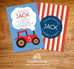 Green or Red Tractor Invitations DIY Printables by LedinghamShop, $10.95