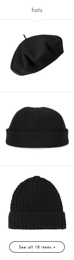 """""""hats"""" by rg-amini ❤ liked on Polyvore featuring hats, accessories, headwear, cappelli, black, betmar, men's fashion, men's accessories, men's hats and mens beanie hats"""