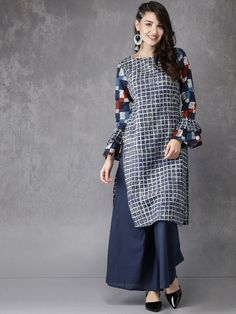 9127bdba6fc07c Buy Anouk Blue Checked Print Straight Kurta online in India at best  price.Comfortable and stylish, this kurta from Anouk is ideal for any  fashionista.