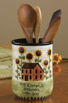 House Sunflowers Utensil Crock by Park Designs, Ceramic, Country Design, H