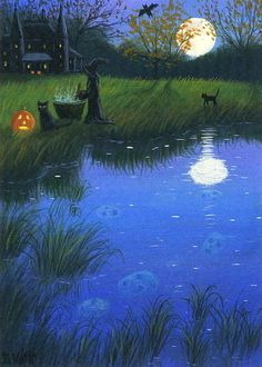 Witch black cats haunted house moon pond Halloween limited edition aceo print #Realism