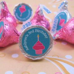 Cupcake Personalized Birthday Hershey Kisses Kiss Stickers