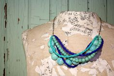 Chunky beaded necklace Blue and aqua statement by thepaisleymoon