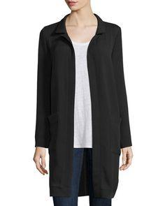 TBC0H Eileen Fisher Long Lightweight Silk Jacket