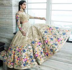 """""""beige heavy aari work punjabi bridal lehenga"""" Posted by Needhi Dhoker via.looksgud.in"""