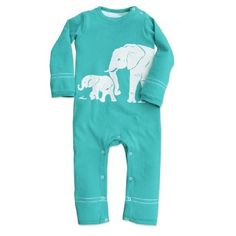 Wee Urban Romper - Teal Elephants 0-6 months | #cute #baby #clothes Xo!