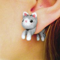 Cute Kitten Fake Gauges Earrings
