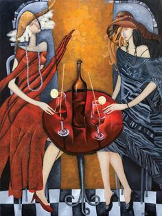 "ARTIST PRINTS artwork paintings by Yelena Dyumin Deco art, MODERN figurative art - 40x30"" Tet a tet - Large Abstract print on canvas #dyuminart"