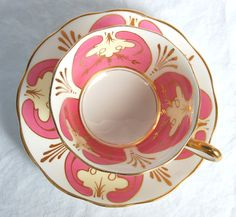 Royal Albert hand painted pink and gold tea cup and saucer ~ circa 1950