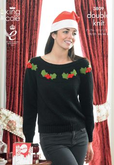 Christmas jumper pattern Holly Sweater - King Cole Christmas Knitting