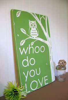 WHOO do you LOVE Owl Typography Wall Art by ToeFishArt on Etsy