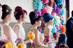 I love the wedding here. Awesome. Blue and red hair, bright colors. Dynamite!