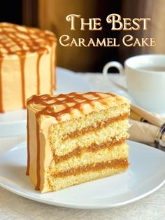 The Best Caramel Cake Recipe ~ The moist vanilla cake gets filled with layers of homemade caramel sauce, then covered in a caramel buttercream frosting and drizzled with a little more caramel sauce. This cake is utterly delicious and irresistible. Click through for recipe!