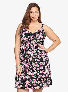 Floral Challis Ruffle Tank Dress, ROSEY POSEY
