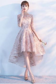 Princess A Line Lace High Low Half Sleeves Homecoming Dresses Pink Homecoming Dresses, Blush Homecoming Dresses, Homecoming Dresses A-Line, Homecoming Dresses, Homecoming Dresses High Low #Homecoming #Dresses #Blush #High #Low #ALine #Pink #PinkHomecomingDresses #HomecomingDressesHighLow #BlushHomecomingDresses #HomecomingDresses #HomecomingDressesALine Homecoming Dresses 2019