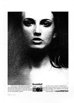 Pentax ad from circa 1969 featuring an image from 'November Girl' by Sam Haskins