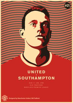Match poster: Manchester United vs Southampton, 11 January 2015. Designed by @manutd.