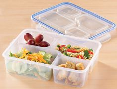 AmazonSmile: (2 Pack) 4 Compartment Microwave Safe Food Container & Lid, Divided Plate, Bento Box, Lunch Tray & Cover: Kitchen & Dining