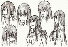 • concept art Character Design official studio trigger Sushio kill la kill Ryuko Matoi Satsuki Kiryuin the art of klk h0saki •