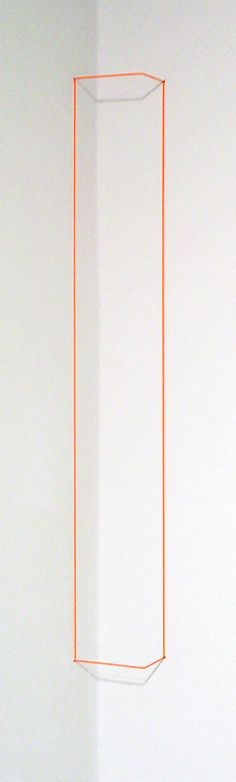 "Fred Sandback  Orange Day-glo Corner Piece, 1968/2004  Orange day-glo acrylic on 1/32"" Elastic Cord & Spring Steel  Edition of 25, AP 1/3"