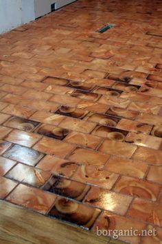 b. organic  wood cobblestone floor, cheap and beautiful