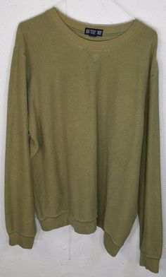 Lands End Mens Olive Green Spandex Stretch Cotton Long Sleeve Sweatshirt XL 4648…