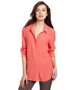Bardot Women's Missy Long Sleeve Shirt, Melon, Medium coupon| gamesinfomation.com