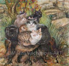 Cats in the garden20/20smfine art Original by MilenaOriginalArt